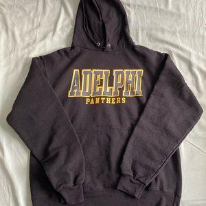 Champion Adelphi Univ. hoodie, size M.